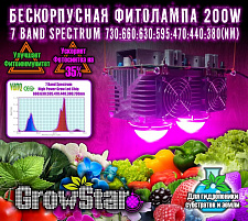 Led светильник Growstar 200W spectrum 7.7